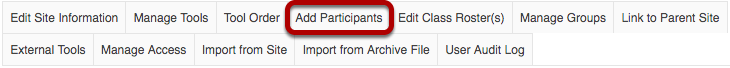 Add Participants tab highlighted in Site Info tabs.