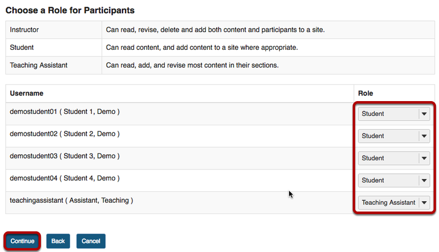 Choose a Role for Participants screen with Role column and Continue button highlighted.