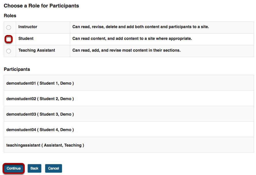 Choose a Role for Participants screen with Student role highlighted and Continue button highlighted.