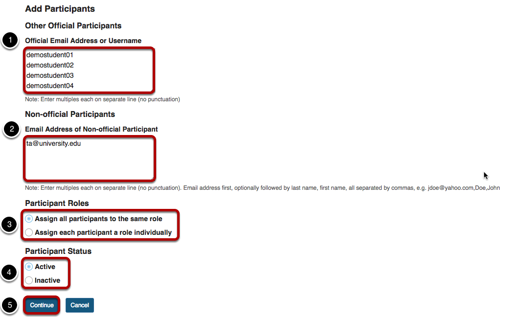 Add participant information with text entry and choices highlighted..