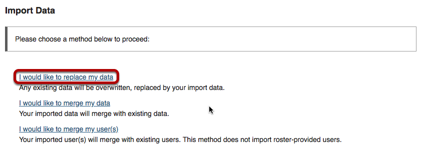 Import data screen with