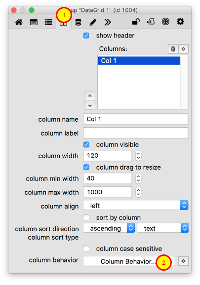 Edit Column Behavior