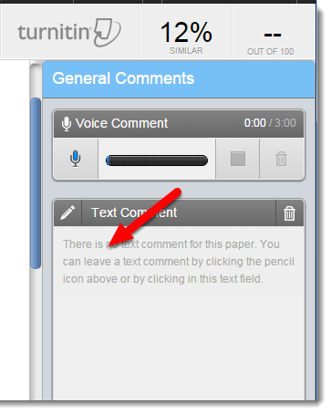 Text Comment area is selected.