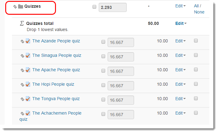 Quizzes category shows all items in it.
