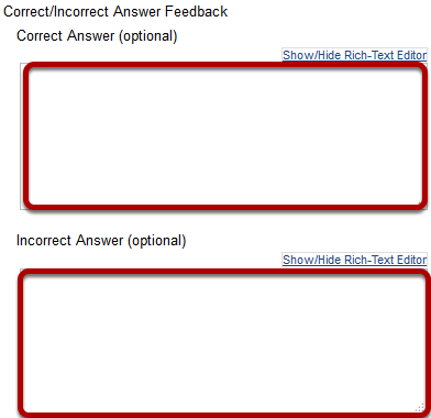 Feedback Authoring: Question-Level Feedback options