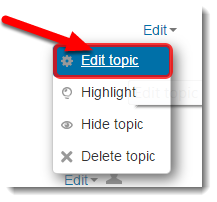 Edit topic is selected.