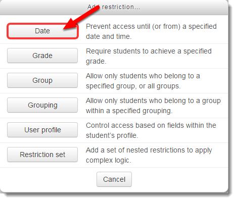 Date button is selected.