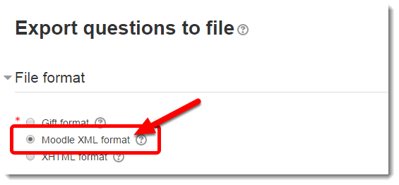'Moodle XML format' radio button is selected.