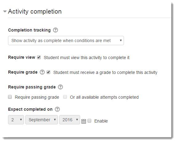 Activity completion section