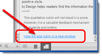 'View full size rubric in a new window' link is selected.