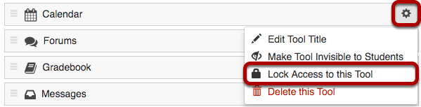 Settings gear icon and Lock Access to this tool highlighted.