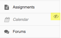 Tool menu with Calendar tool gray and italic and hidden icon highlighted to the right.