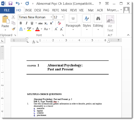 MS Word document with test questions