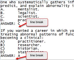Line break between questions added