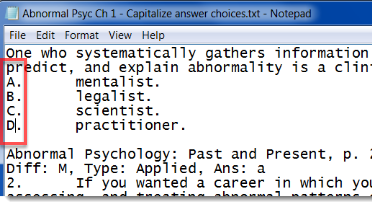 answer choices capitalized
