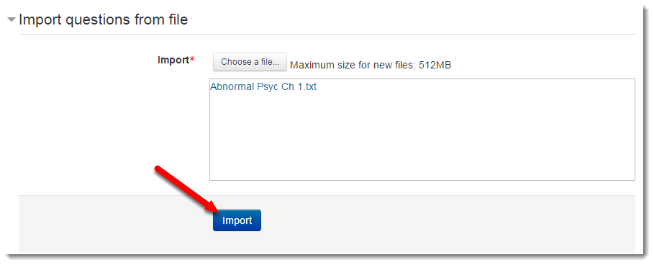 Import button is selected.