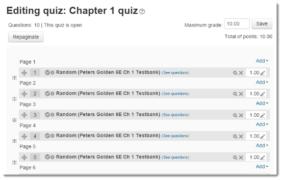The Edit quiz page now shows that 10 questions will be randomly drawn.