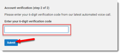 verification code field is selected.