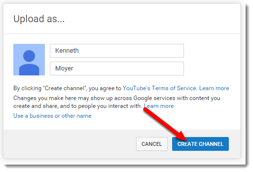 Create Channel button is selected.