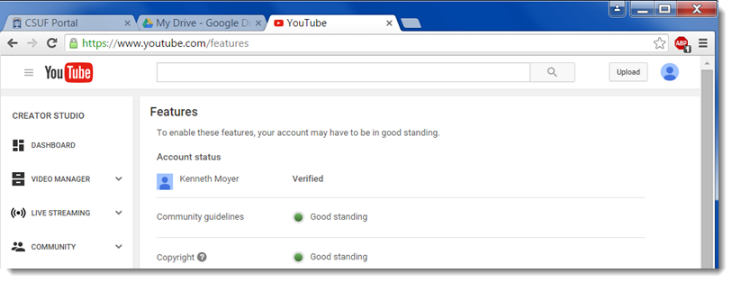youtube features web page