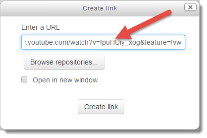 URL from YouTube is pasted.
