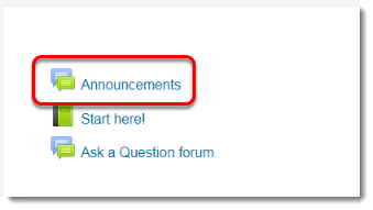 Announcements forum link is selected.