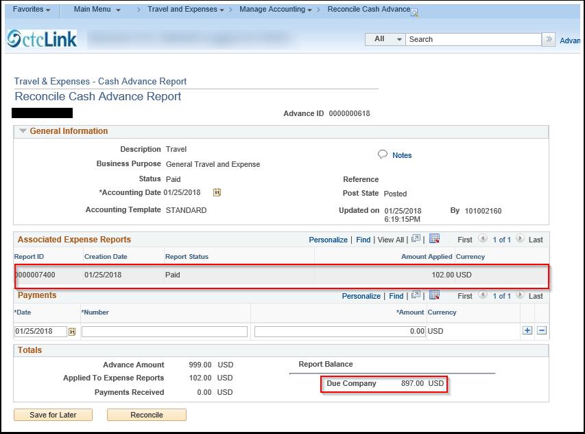 Reconcile Cash Advance Report page