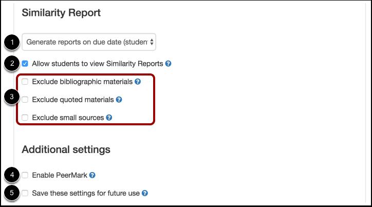 Relatório de similaridade e Configurações adicionais