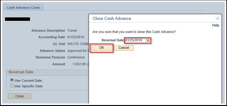 Close Cash Advance section