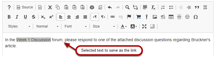 Select the text to be linked.