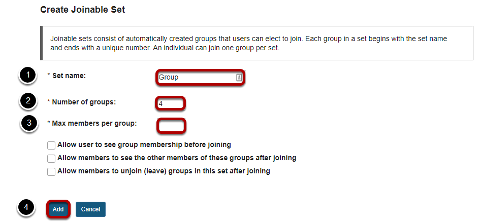 Create Joinable Set data entry screen with data entry fields and Add button highlighted.