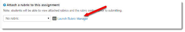 Launch Rubric Manager link is selected.