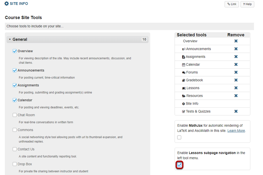 Check the box to Enable Lessons subpage navigation in the left tool menu.