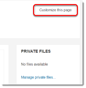Customize this page button is selected.