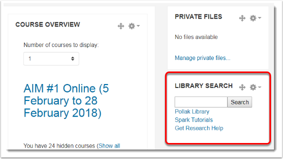 Library search block is in the new location.