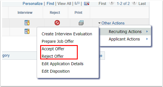 Recruiting Actions and Accept Reject Offer