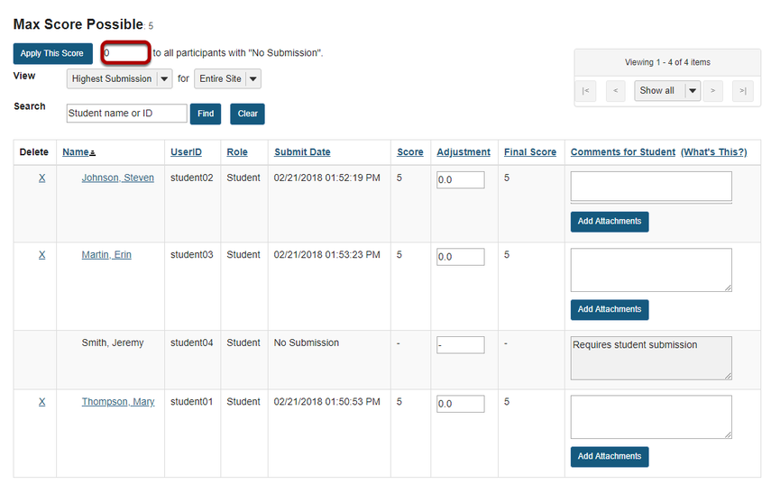 Enter a score to assign to all students with No Submission.
