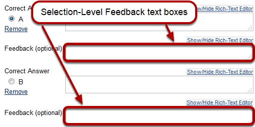 Feedback Authoring: Selection-Level Feedback options