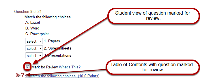 Add checkboxes next to questions so they can be marked for review