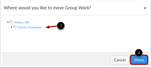 Choose Where to Move Outcome or Outcome Group