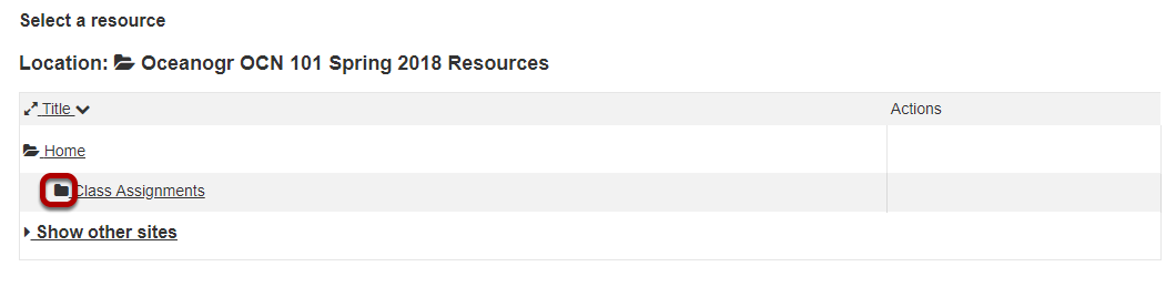 Under Select a resource, expand the folder that contains the file to attach.