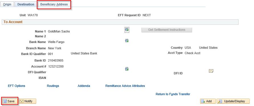 Beneficiary Address tab