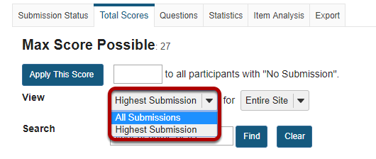 Display multiple submissions for student(s) (Optional).