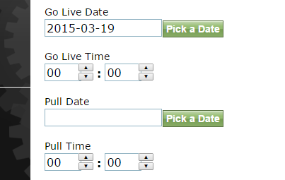 Set a Go Live Date and Go Live Time.