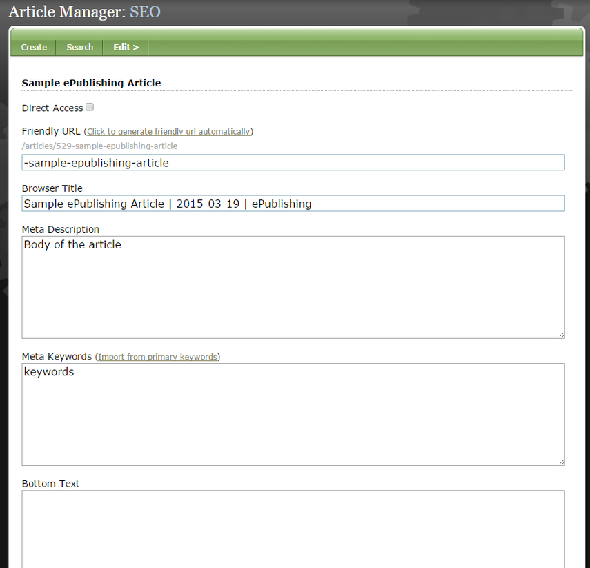 Click Save and return to the top of the Article Manager. Hover over Edit and select SEO.