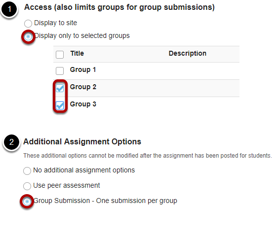 Group assignments options