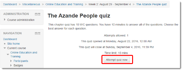 Attempt quiz link is selected.
