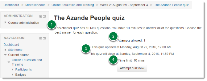 Quiz instructions page