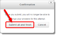 Submit all and finish button is selected.