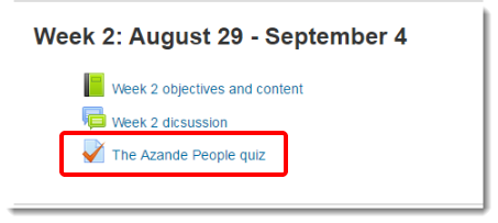 Quiz link is highlighted